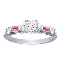 Engagement Ring - Heart Shape Diamond Engagement Ring Pink Sapphires Baguettes Band in 14K White Gold - ES116PHS
