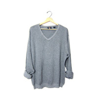Vintage boyfriend sweater. Grey loose knit sweater. Slouchy gray sweater. Oversized cotton pullover. Basic sweater.