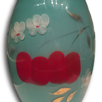 Hand painted Red & Turquoise Cherry Blossom Vase / Storage