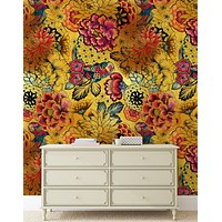 Japanese Art Koi Fish Peel and Stick Wallpaper. Gold Flowers Background.  Removable Wall Mural #6192