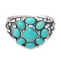 Metal Hinged Bracelet w/ Geometric Turquoise & Rhinestone Accents Color: Turquoise
