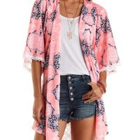 Crochet-Trim Duster Kimono Cardigan by Charlotte Russe - Neon Coral