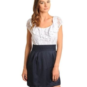 Pick Size S M L Gorgeous White Navy Blue Lace Skater T Shirt Flare Pleated Look Dress Independent Designer medium by Dani Nicholle