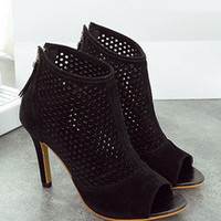 Black High Heel Hollow Peep Toe Pumps