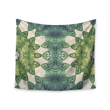 """Art Love Passion """"Forest Leaves"""" Green Teal Celtic Abstract Wall Tapestry"""