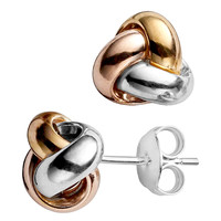 14K Tricolor Yellow White And Rose Gold Shiny Love Knot Stud Earrings - 10mm