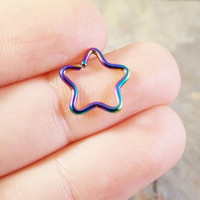 Rainbow Star Daith Ear Piercing Cartilage