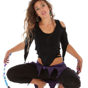 SLASHED BACK PIXIE TOP, psy trance top, pixie hood top, festival pixie clothing
