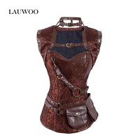 LAUWOO New Women's Retro Goth Brocade Full Steel Bones Steampunk Overbust Corset with Jacket and Belt Brown Halloween Top