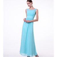 Mint Chiffon Empire Waist High Neck Dress 2015 Prom Dresses