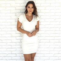 A La Mode Ruffle Sleeve Bodycon Dress in Ivory
