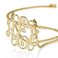 Monogram Necklace 18k Gold Plated Personalized Initial Name Necklace (16 Inches)