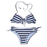 YeSiYan Womens Navy Blue and White Striped Bikini Push up Swimsuits