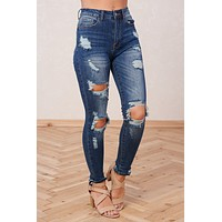 Never Be Apart Distressed Jeans (Dark Wash)