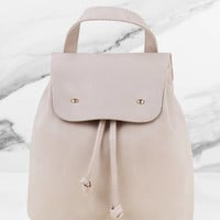 She Said Faux Leather Bucket Backpack
