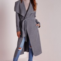 Missguided - Petite Belted Waterfall Coat Grey