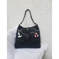 Navy tote bag upcycled jeans tote bag with anchor, lifebelt
