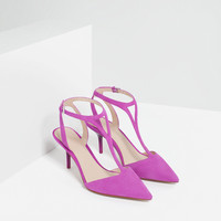 MID HEEL LEATHER SHOES WITH ANKLE STRAP - Extended sizes-SHOES-WOMAN | ZARA United Kingdom