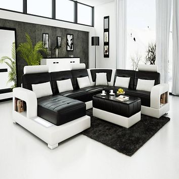 Luxury Modern Living Room Luxury Bright Colored Leather Sofa Set