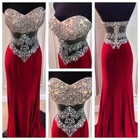 Mermaid Prom Dresses 2016 Sweetheart Sleeveless Backless Low Zipper Sweep Train Crystal with Chiffon Sexy Formal Evening Dresses