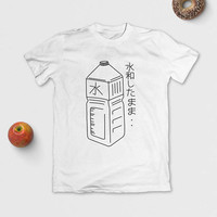 Japanese Water Bottle T-Shirt - Stay Hydrated - Graphic Tee - Tumblr Aesthetic - Unisex - S M L XL - Black, White or Grey