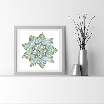 Abstract Art Particle Star, Green, Blue, and Taupe flower_9ay. Limited edition Fine Art Giclee print, by San Francisco artist Kristin Henry.