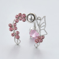 Pink Crystal Buttlerfly   Reverse Belly  Ring