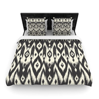 "Amanda Lane ""Black Cream Tribal Ikat"" Tan Dark Fleece Duvet Cover"