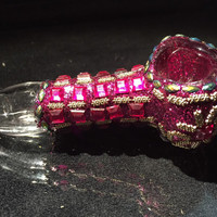 """Jeweled Hand Blown Glass Smoking Pipe Spoon Style Bowl Glass Pipe 4.5"""""""