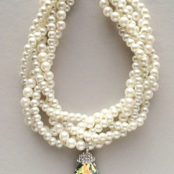 Zora Pearl & Crystal Clusters Necklace