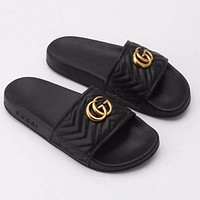 GUCCI new retro letter gold buckle couple style home slippers sandals Shoes