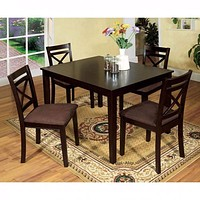 Sophisticated  5Pc Dining Table Set  With Fabric Cushion Chair- Espresso By Casagear Home