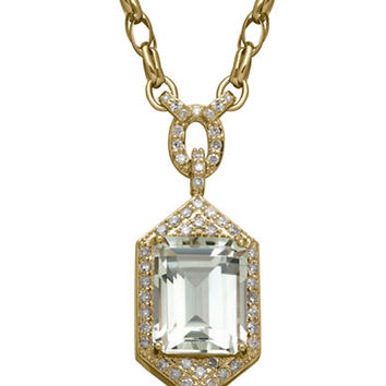 Lord & Taylor 14K Yellow Gold Green Amethyst and Diamond Necklace