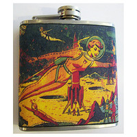 retro sci fi flask vintage pin up girl rockabilly outer space kitsch