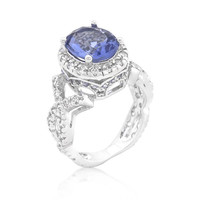 Tanzanite Cubic Zirconia Cocktail Ring, size : 09