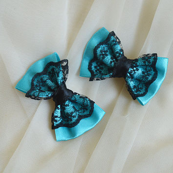 Mini hair bow - turquoise blue and black - party kei decora lolita harajuku pastelgoth goth kitten play princess fashion kawaii costume