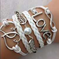 White Double Heart, Love, Infinity Bracelet