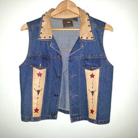 Vintage Western Jean VEST with Suede Back patch and studded denim southwestern Cowgirl Cowboy southwest Texas Rodeo Size Medium