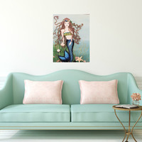 Mermaid Wall Decor- Original Beach Art -Blue Coastal Collage on Canvas-16X20 inches