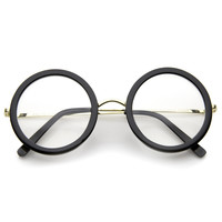 Large Round Retro Indie Clear Lens Glasses A291