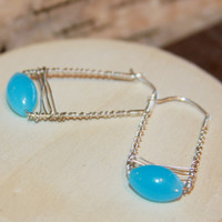 Blue and Silver Hoop Earrings, Blue Earrings, Hoop Earrings Blue Beaded, Rectangle Hoops, Square Hoop Earrings,Gifts for Her, Unique Hoops,