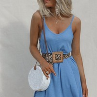 Called It Ribbed Sky Blue Mini Dress