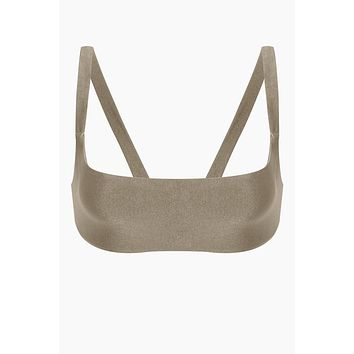 Revel V Back Bralette Bikini Top - Pebble Brown