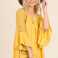 Umgee Women's Bell Sleeve Blouse with Lace Trim and Keyhole neckline Honey