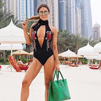 High Quality Summer Comfortable Backless One-piece Hot Sale Sexy Deep V Black Floral Embroidery Pants Swimwear [11293718927]