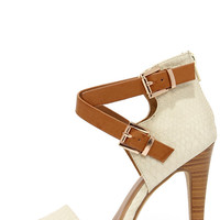 Latest and Greatest Beige and Tan Snakeskin Ankle Strap Heels