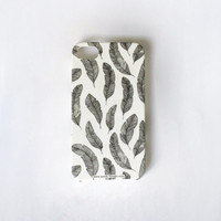 FREE SHIPPING: Feathers Phone Case. Whimsy black and white Gadget Accessory. iPhone 5 Case - iPhone 4 Cover - Samsung Galaxy S2 / S3