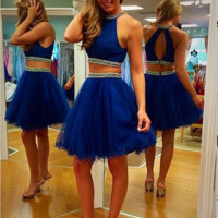 Royal Blue Two Pieces Homecoming Dresses