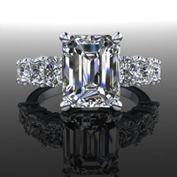 Forever Brilliant Moissanite Seven Stone Engagement Ring Emerald Cut 5.32 CTW