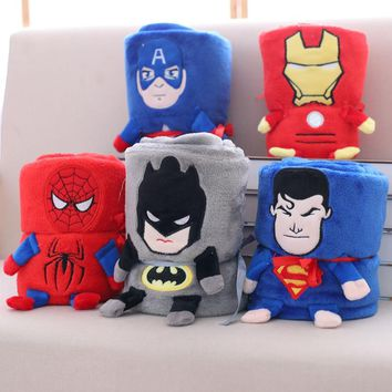Super hero superman  Spiderman Avengers  Plush Flannel Blanket Throw for Boys on Bed Sofa Couch plush baby toy Kids friends Gift